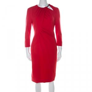 Escada Red Jersey Long Sleeve Dachain Sheath Dress M