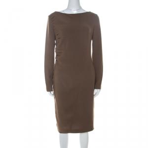 Escada Olive Green Crepe Side Pleated Long Sleeve Shift Dress M