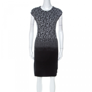 Escada Black and Grey Ombre Knit Sintala Dress S
