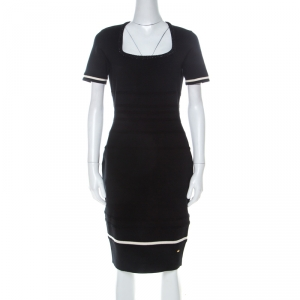 Escada Black Stretch Wool Scoop Neck Sahkyo Bodycon Dress S
