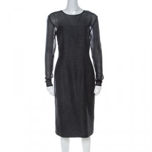 Escada Metallic Grey Wool Blend Sheer Yoke Dariello Pencil Dress L