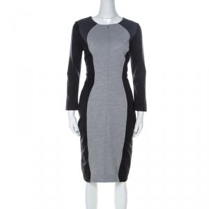Escada Grey Colorblock Wool Blend Front Zip Sheath Dress M