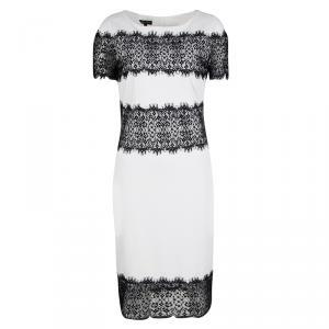 Escada Monochrome Scallop Lace Panel Detail Short Sleeve Dress XS - used