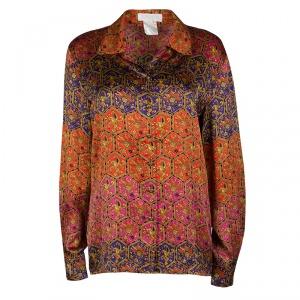 Escada Vintage Multicolor Printed Silk Long Sleeve Shirt M - used