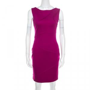Escada Hot Lava Purple Stretch Knit Pintuck Detail Sleeveless Bodycon Dress S - used