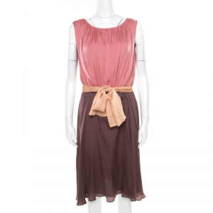 Escada Colorblock Silk Belted Sleveeless Denise Dress M - used