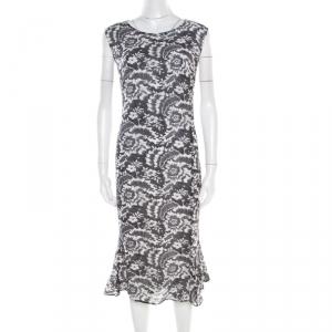 Escada Monochrome Lace Printed Silk Sleeveless Flounce Midi Dress XL - used