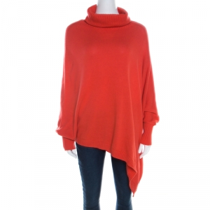 Escada Medium Orange Cashmere Wool Asymmetric Sleeve Oversized Turtleneck Sweater M - used