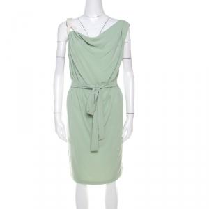 Escada Pistachio Green Crepe Contrast Trim Draped Sleeveless Doutzen Dress M - used
