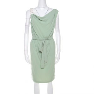 Escada Pistachio Green Crepe Contrast Trim Draped Sleeveless Doutzen Dress L - used