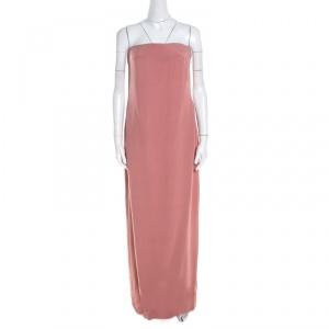 Escada Litchi Pink Silk Asymmetric Hem Strapless Gunn Evening Gown M - used