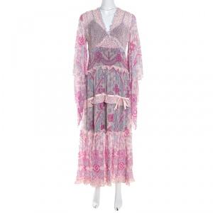 Escada Pink Abstract Print Crepe Silk Bead Embellished Kleid Maxi Dress M - used