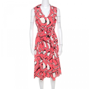 Escada Pink and White Abstract Print Silk Sleeveless Tie Up Dress M - used