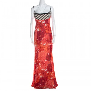 Escada Pink Floral Print Silk Corset Bodice Flared Abendkleid Maxi Dress M - used