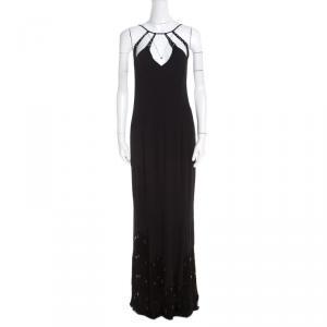 Escada Black Crepe Silk Sequin Embellished Fringed Hem Evening Dress M - used