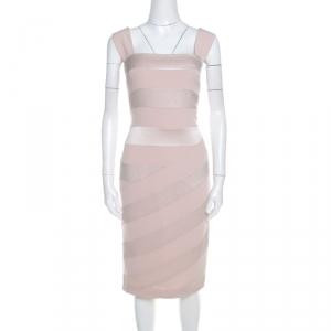 Escada Blush Pink Crepe Paneled Diantima Pencil Dress M - used