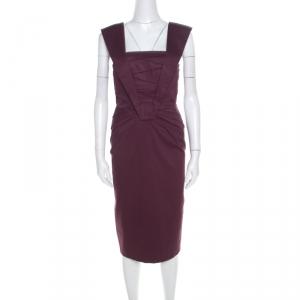 Escada Purple Cotton Stretch Pleated Bodice Detail Sleeveless Pencil Dress M - used