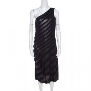Escada Navy Blue Striped Foil Print Jersey Draped One Shoulder Eyline Dress M - used