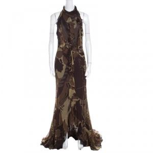 Escada Green and Brown Fauna Print Plisse Silk Ruffled Halter Maxi Dress M - used