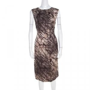 Escada Grey Mosaic Print Textured Silk Wool Sheath Dress L - used