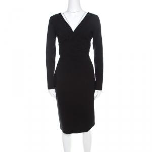 Escada Black Stretch Crepe Pintuck Detail Dinore Sheath Dress M - used