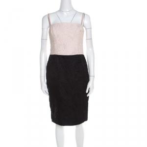 Escada Bicolor Floral Jacquard Cotton Silk Doren Corset Dress M - used