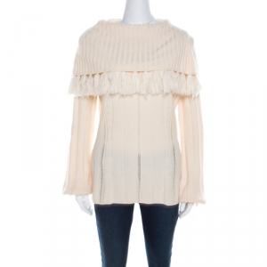 Escada Ivory Chunky Knit Wool and Silk Fringed Roll Neck Swanhilde Sweater L - used