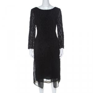 Escada Black Fil Coupé Wrap Front Dorelles Dress M - used