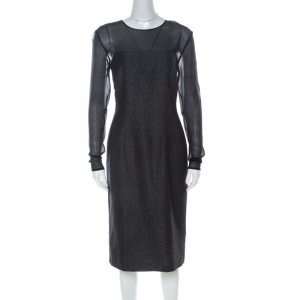 Escada Metallic Grey Wool Blend Sheer Yoke Dariello Pencil Dress M - used