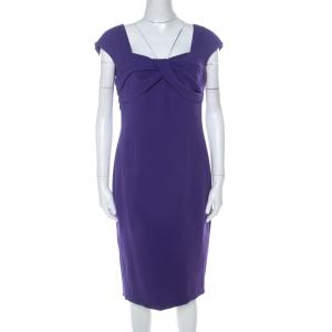 Escada Purple Crepe Pleated Bodice Detail Sleeveless Danicara Dress M - used