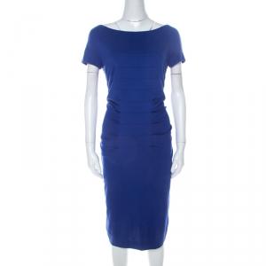 Escada Ink Blue Stretch Knit Pleated Dynamia Bodycon Dress M - used