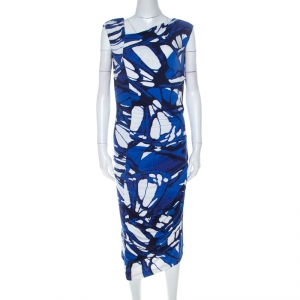 Escada Azure Blue Print Jersey Asymmetric Neck Elfryda Ruched Dress M - used