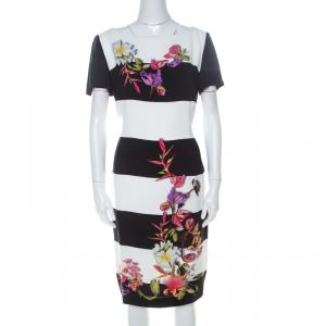 Escada Monochrome Floral Print Wide Striped Crepe Dkantus Shift Dress M - used
