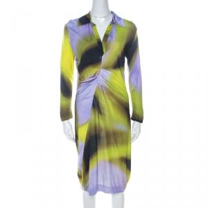 Escada Multicolor Fantasy Print Jersey Pleat Front Etiennise Dress M - used