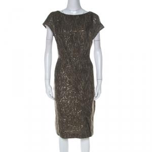 Escada Olive Green Sequinned Tweed Darouny Sheath Dress L - used