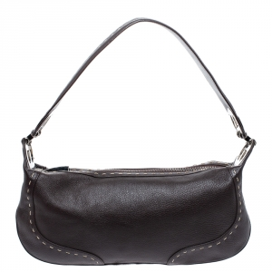 Escada Dark Brown Leather Eluna Shoulder Bag