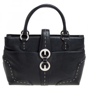 Escada Black Leather Front Pocket Satchel