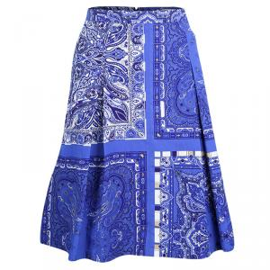 Etro Blue Paisley Printed Cotton Pleated Skirt L