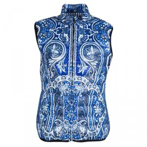 Etro Blue Paisley Printed Quilted Puffer Vest L