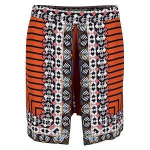 Etro Orange Printed Silk Mini Skirt-Shorts S