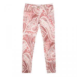 Etro Red Paisley Printed Denim Slim Fit Jeans M