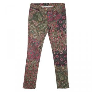 Etro Multicolor Floral and Paisley Print Slim Fit Denim Jeans L