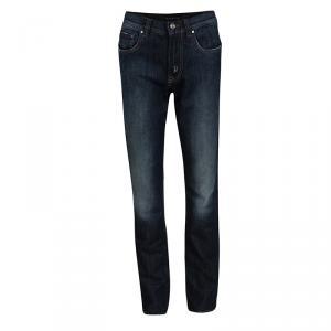 Etro Indigo Dark Wash Faded Effect Denim Patchwork Detail Distressed Jeans L
