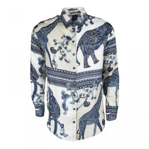 Etro Colorblock Printed Silk Long Sleeve Button Front Shirt M