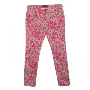 Etro Pink Paisley Print Slim Fit Denim Jeans L