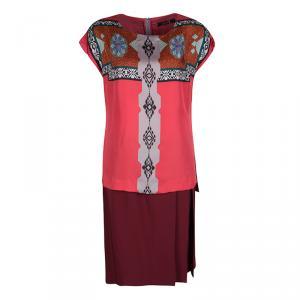 Etro Multicolor Printed Silk Layered Midi Dress M