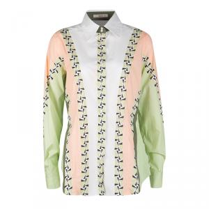 Etro Colorblock Printed Cotton Long Sleeve Button Front Shirt L