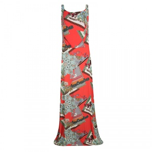 Etro Multicolor Printed Knit Sleeveless Maxi Dress L