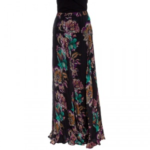 Etro Black Floral Printed Crinkled Silk Maxi Skirt M