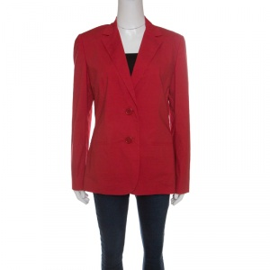 Etro Red Cotton Two Button Blazer L